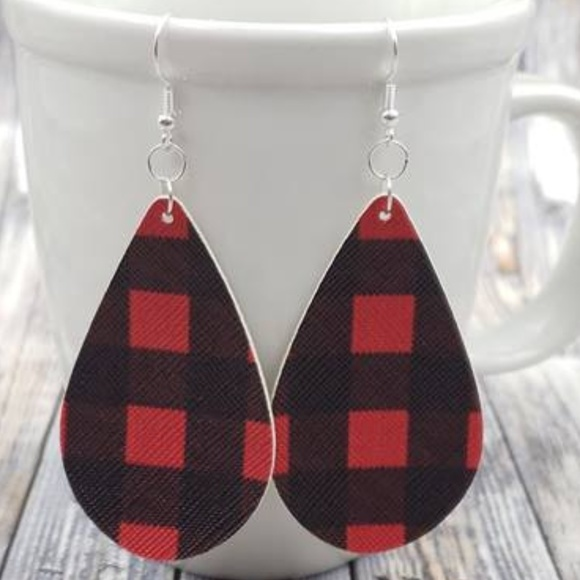 """Handmade Jewelry - 2.5"""" Buffalo Plaid Earrings"""